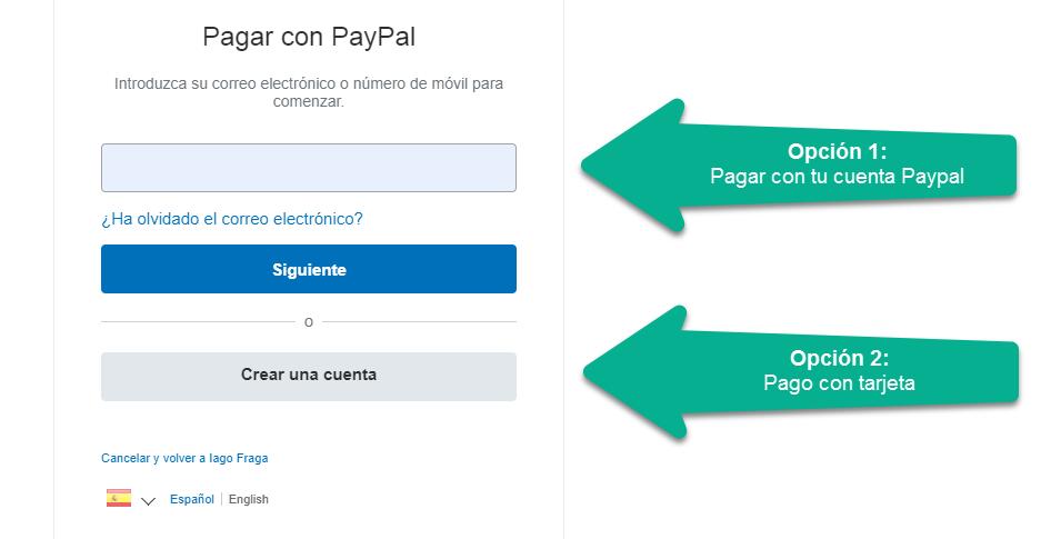 paso 1, pago, paypal